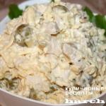 Салат с консервированными кальмарами и сыром «Кураж»