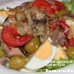 Салат с сардинами и жареным луком «Совок»