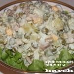 Салат «Оливье» с печенью трески