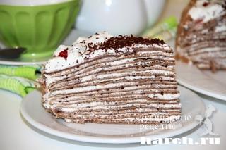 Блинный шоколадный торт с творожно сливочным кремом