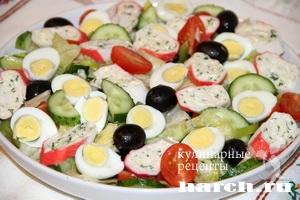 salat s farshirovanimi krabovimi palochkami elegiya 7 Салат с фаршированными крабовыми палочками Элегия