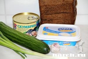 Гренки с консервированной скумбрией