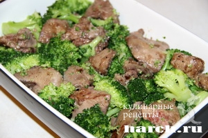 kurinaya pechen s brokkoli v omlete 06 Куриная печень с брокколи в омлете