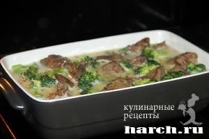 kurinaya pechen s brokkoli v omlete 08 Куриная печень с брокколи в омлете