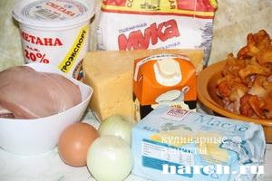 pirog gulien s kuricey i gribami 02 Пирог жульен с курицей и грибами