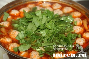 shaveleviy sup s frikadelkami i tomatom 08 Щавелевый суп с фрикадельками и томатом
