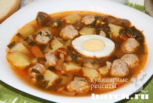 shaveleviy sup s frikadelkami i tomatom 10 Щавелевый суп с фрикадельками и томатом
