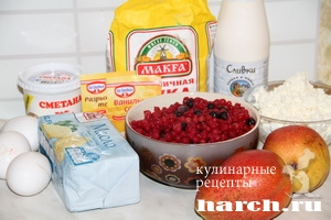 pirog s grushami yagodami i tvorognoy zalivkoy 02 Пирог с грушами, ягодами и творожной заливкой