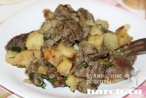 Картофель, жареный с куриной печенью