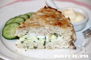Куриный пирог с яйцом и зеленым луком