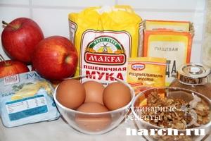 Швейцарский пирог с яблоками и грецкими орехами