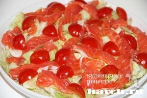 Салат с красной рыбой и помидорами Волшебный