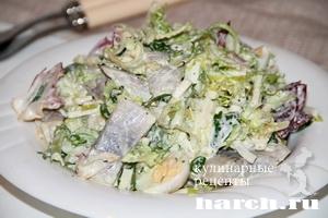 Салат из сельди с перепелиными яйцами Нимфа
