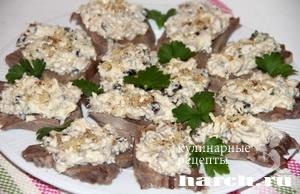 Закуска из языка с грибами по боярски
