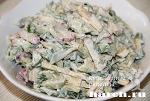 Салат из свежих огурцов с редисом и яблоком Алёнка