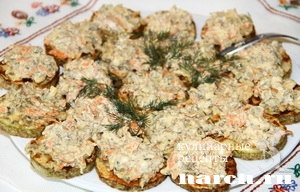 Закуска из кабачков с печенью и сыром