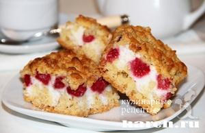 Крошковый пирог с малиной