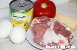 Салат с жареной свининой и кукурузой Карлуша