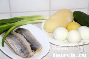 Салат из сельди со свежим огурцом Новорижский
