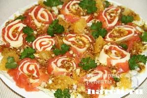 Салат с семгой и апельсинами Новогодик