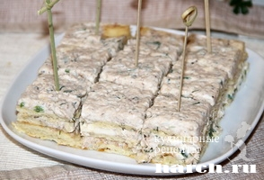 Закусочный рыбный торт Мимоза
