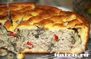Пирог с мясом и грибами Крестьянский