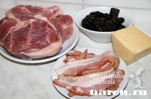Свинина, запеченная с беконом и черносливом по гамбургски