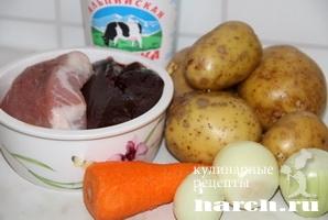 Картофельный рулет с мясом и печенью