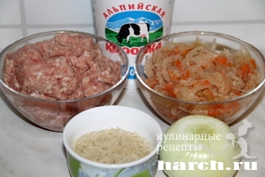 Мясной фарш с рисом и кислой капустой по дрезденски