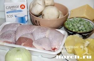 Курица с грибами под картофельной корочкой