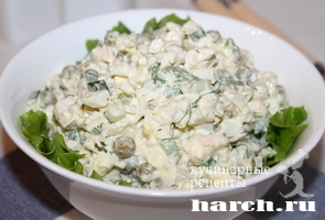 Салат с куриной грудкой и рисом Елена