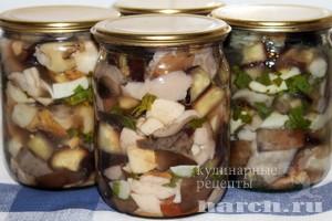 Баклажаны, маринованные с грибами