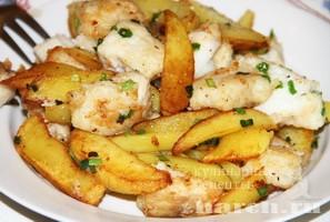 Картофель с треской и зеленым луком