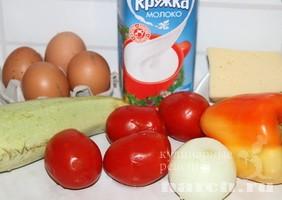 Омлет с кабачком и помидорами