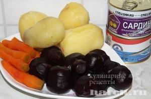 Салат из свеклы с сардинами Благовещенский
