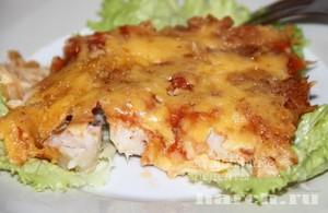 Рыба под сырной корочкой Пикантная