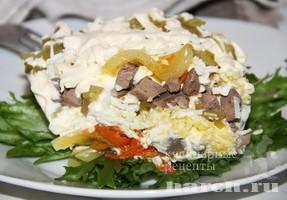 Салат из куриной печени с солеными огурцами Дворцовый переворот