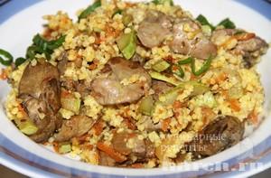 Кулеш с куриной печенью и овощами