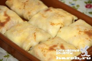 Блинчики с сыром, ветчиной и грушами