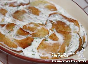 Жареный картофель с чесноком и майонезом