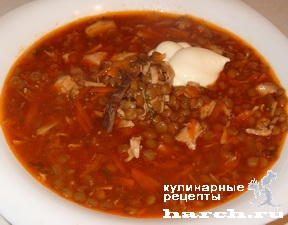 gustoi sup is chechevici s kuricey 8 Густой суп из чечевицы с курицей