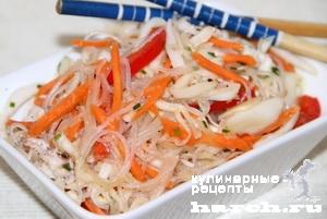 Салат с фунчозой и кальмарами рецепт с очень