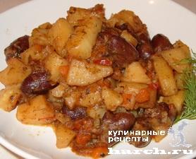 Картофель, тушеный с куриными сердечками