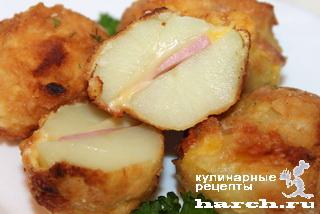 """Картофельные """"каштаны"""" с сыром и ветчиной"""