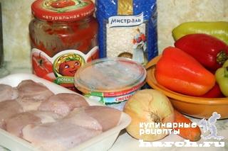 kurica tushenaya s farshirovanim percem v podlive 02 Курица, тушеная с фаршированным перцем в подливе