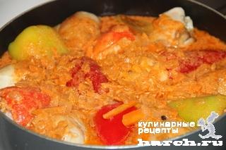 kurica tushenaya s farshirovanim percem v podlive 10 Курица, тушеная с фаршированным перцем в подливе