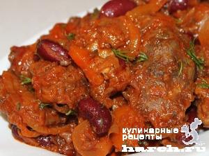 kurinaya pechen s fasolu i ovoghami v tomatnom souse 111 Куриная печень с фасолью и овощами в томатном соусе