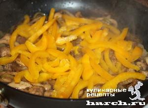 kurinaya pechen s gribami i sladkim percem 06 Куриная печень с грибами и сладким перцем