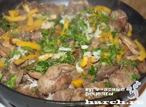 kurinaya pechen s gribami i sladkim percem 08 Куриная печень с грибами и сладким перцем