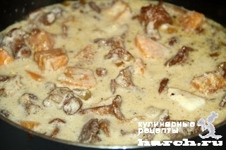kurinaya pechen s lisichkami i tikvoy 09 Куриная печень с лисичками и тыквой